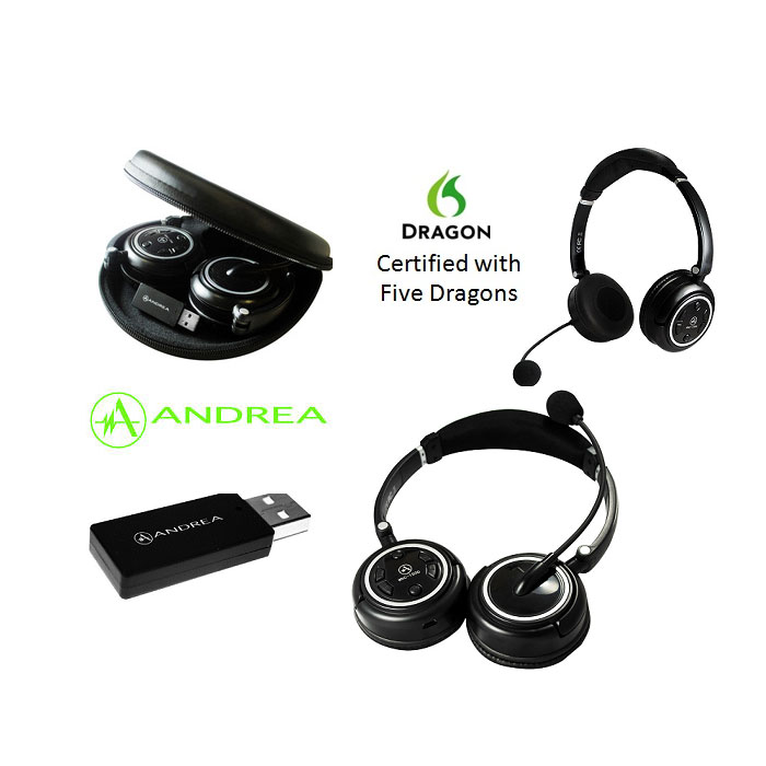 Andrea WNC-1500 Wireless bluetooth PC Stereo Headset, Certified for Dragon Speech Recognition software